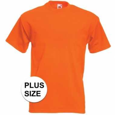 Grote maten basis heren t shirt oranje ronde hals