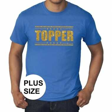 Grote maten blauw topper t shirt gouden glitter letters heren