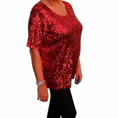 Grote maten glitter pailletten shirt rood dames xl (44 48)