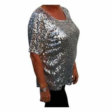Grote maten glitter pailletten shirt zilver dames xl (44 48)
