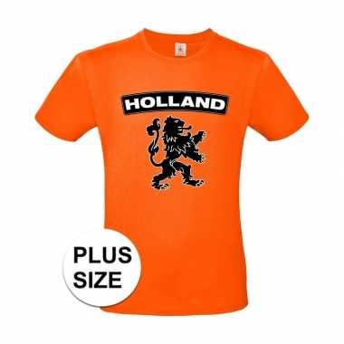 Grote maten holland shirt zwarte leeuw shirt oranje heren