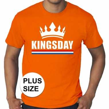 Grote maten kingsday / koningsdag kroon shirt oranje heren