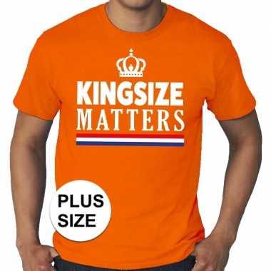 Grote maten kingsize matters koningsdag kroon shirt oranje heren