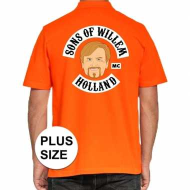 Grote maten koningsdag polo t shirt oranje sons of willem holland mc