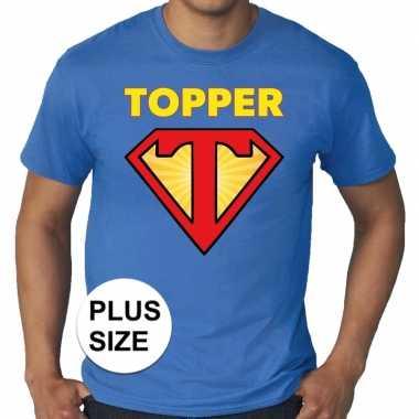 Grote maten t shirt super topper heren blauw