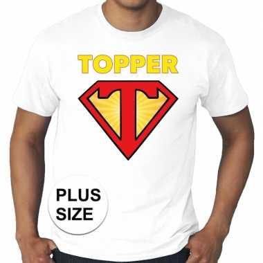 Grote maten t shirt super topper heren wit
