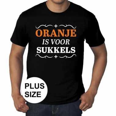 Grote maten zwart oranje is sukkels t shirt heren