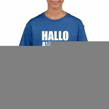 Hallo allemaal fun t shirt blauw kinderen