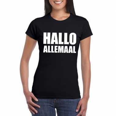 Hallo allemaal fun t-shirt zwart dames