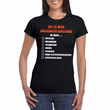 Halloween dames shirt checklist zwart