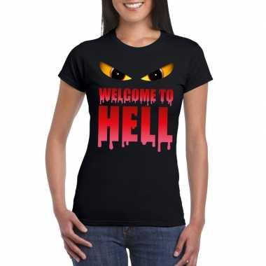 Halloween duivel shirt zwart dames welcome to hell