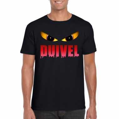 Halloween duivels ogen shirt zwart heren