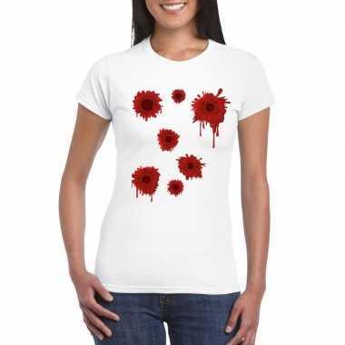 Halloween/ gangster schotwonden shirt wit dames