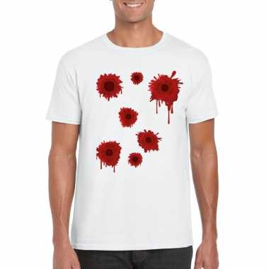 Halloween/ gangster schotwonden shirt wit heren