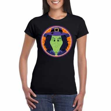 Halloween heksen shirt zwart dames