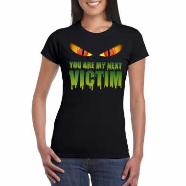 Halloween monster shirt zwart dames you are my next victim