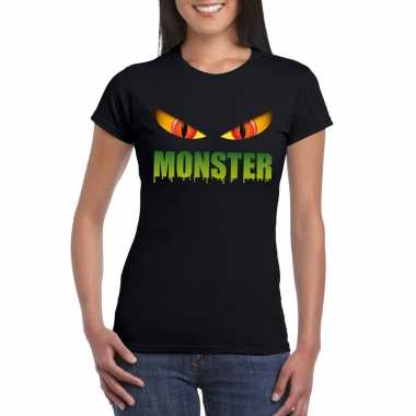 Halloween monsterogen shirt zwart dames