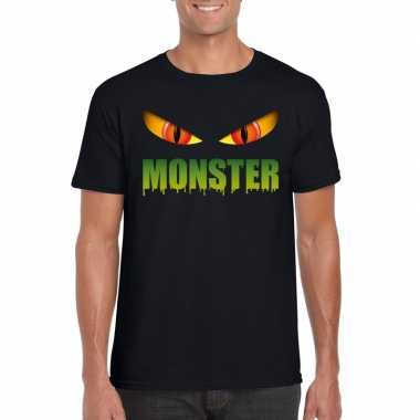 Halloween monsterogen shirt zwart heren