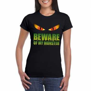 Halloween shirt zwart dames beware of my monster