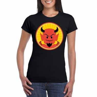 Halloween shirt zwart dames rode duivels