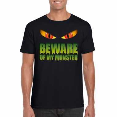 Halloween shirt zwart heren beware of my monster