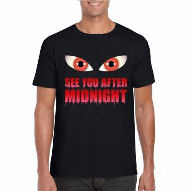 Halloween vampier shirt zwart heren see you after midnight