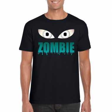 Halloween zombie ogen shirt zwart heren