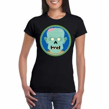 Halloween zombie shirt zwart dames