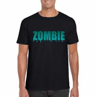 Halloween zombie shirt zwart heren