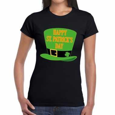 Happy st. patricksday t shirt zwart dames