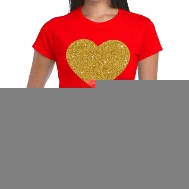 Hart goud fun t shirt rood dames