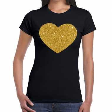 Hart goud fun t shirt zwart dames