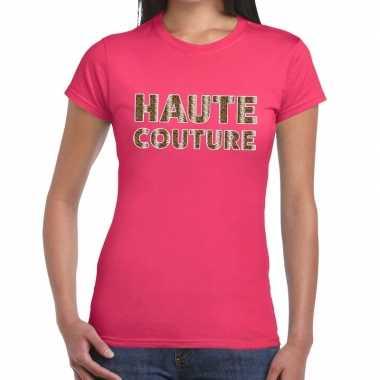Haute couture slangen print fun t shirt roze dames