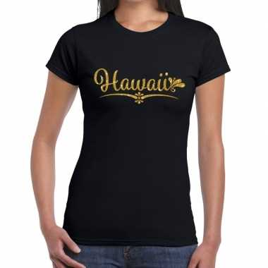Hawaii gouden letters fun t shirt zwart dames