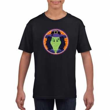 Heksen halloween t shirt zwart jongens meisjes