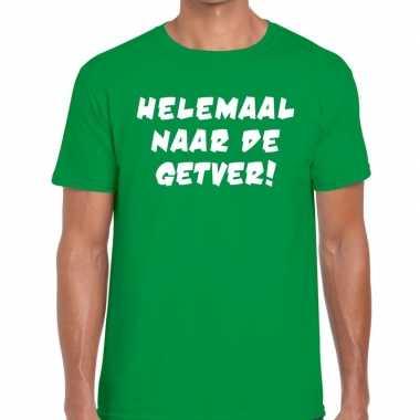 Helemaal naar getver fun t shirt groen heren