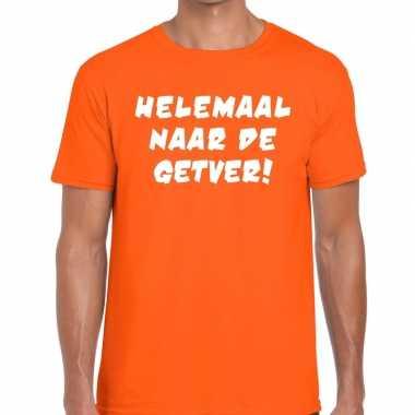 Helemaal naar getver fun t shirt oranje heren
