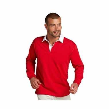 Heren rugbyshirt mouw strepen