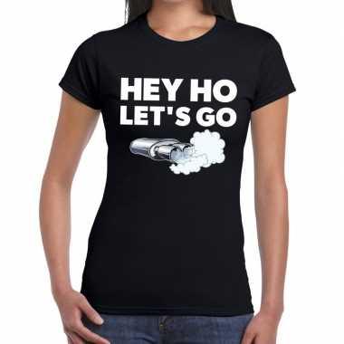 Hey ho lets go zwarte cross t shirt zwart dames