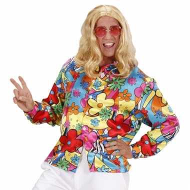 Hippie flower power shirt heren