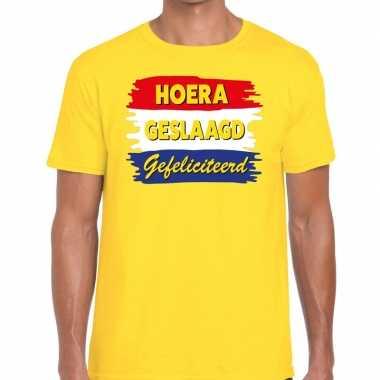 Hoera geslaagd gefeliciteerd geel fun t shirt heren