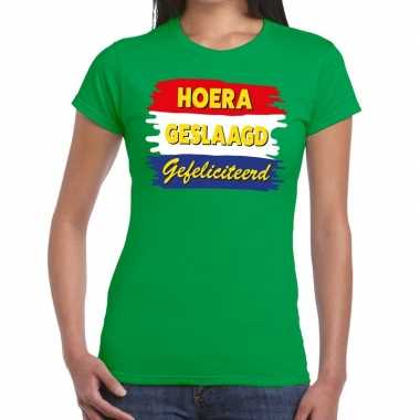 Hoera geslaagd gefeliciteerd groen fun t shirt dames