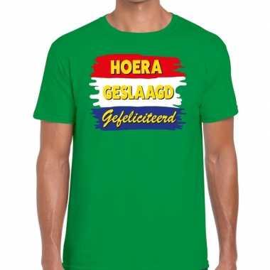 Hoera geslaagd gefeliciteerd groen fun t shirt heren