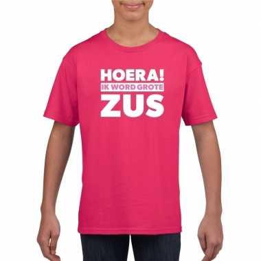 Hoera ik word grote zus shirt roze meisjes