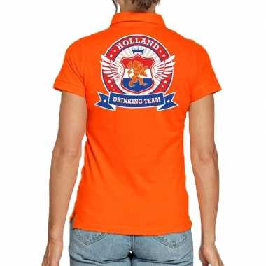 Holland drinking team polo t shirt oranje kroon dames