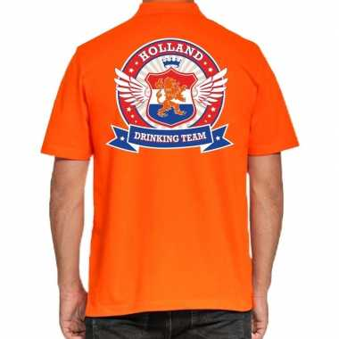 Holland drinking team polo t shirt oranje kroon heren