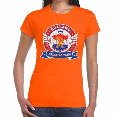 Holland drinking team t shirt oranje dames