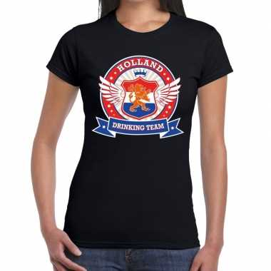 Holland drinking team t shirt zwart dames