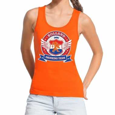 Holland drinking team tanktop / mouwloos shirt oranje dames