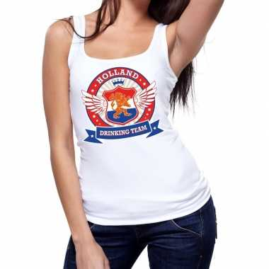 Holland drinking team tanktop / mouwloos shirt wit dames